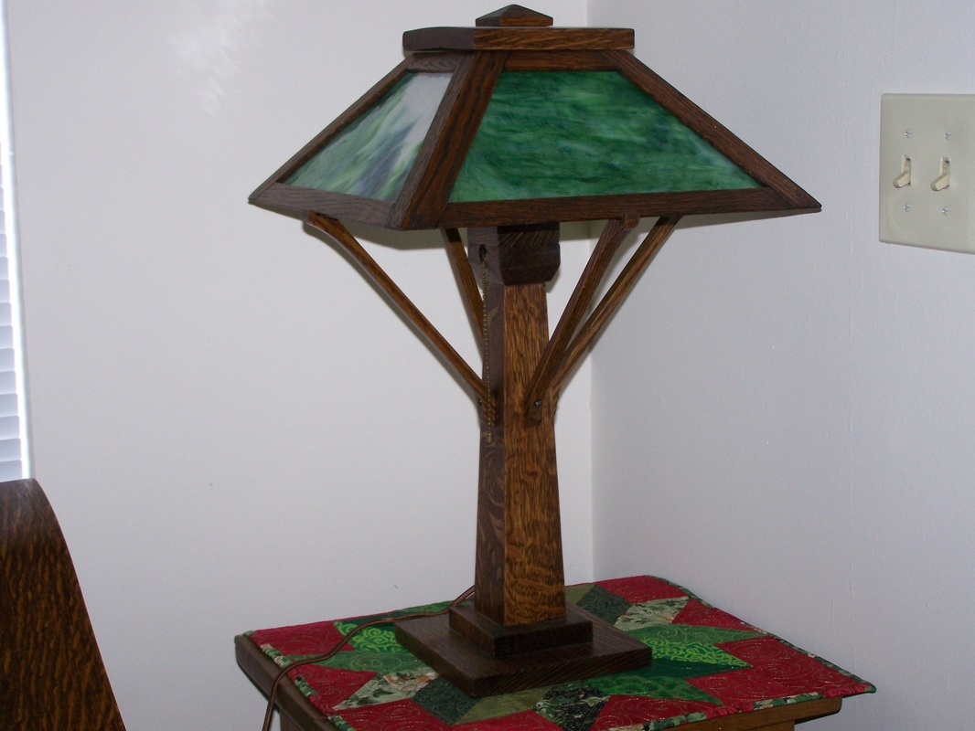 Antique mission oak table lamp with green slag glass arts crafts picture aloadofball Gallery